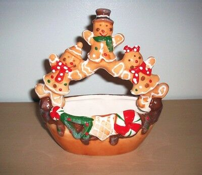 """Gingerbread Girl & Boy Ceramic Hand Painted 7"""" Candy Serving Bowl Dish w/ Handle"""