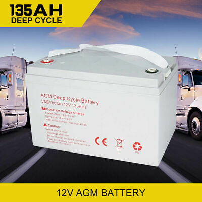 12V AGM Deep Cycle Battery 135AH Dual Fridge Solar Power Deep Cycle Batteries