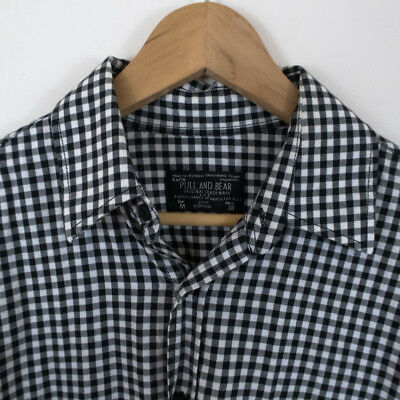 PULL & BEAR Black & White Check L/S Shirt Cotton Stylish Casual and Comfy