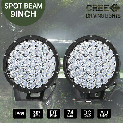 2x 9 inch CREE LED SPOT Driving Lights Offroad 4X4 Round Spotlights Black 99999W