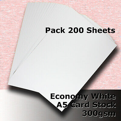 200 Sheets Economy Card Stock WHITE A5 Size 300gsm #H5505
