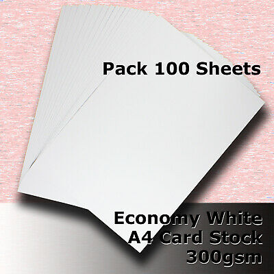 100 Sheets Economy Card Stock WHITE A4 Size 300gsm #H5508