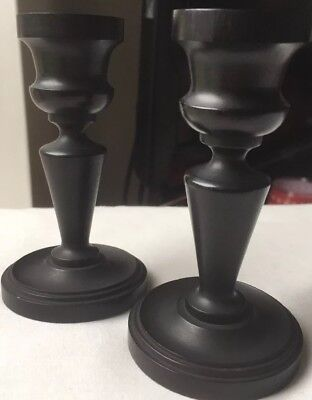 Pair Of Real Ebony Wood Candle Sticks For Vanity Set