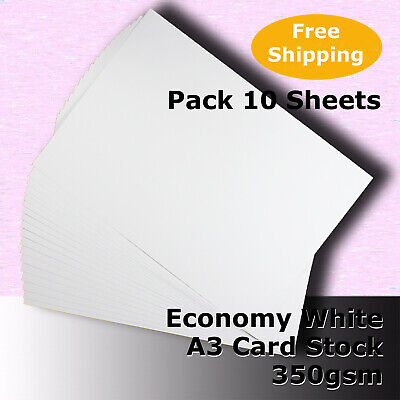 50 Sheets Economy Card Stock WHITE A3 Size 350gsm #H5668