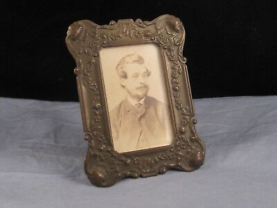 Beautiful Art Nouveau Antique Victorian Miniature Brass Photo Picture Frame