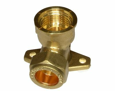 "15mm Brass Compression Fitting to 1/2"" BSP Female Threaded Iron Back Plate Elbow"