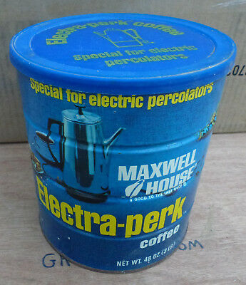 Vintage Maxwell House Electra-Perk 3LB Coffee Can tin percolator cake