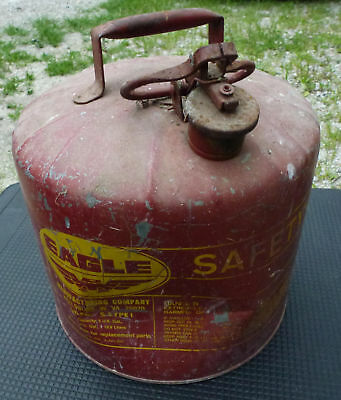 EAGLE 5 Gallon Safety Gas Can galvanized steel metal fuel vintage short