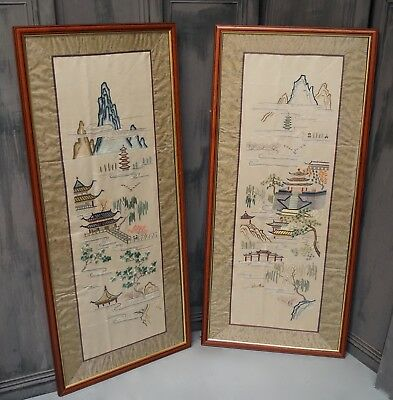 Large Chinese Silk Embroidery Oriental Art Vintage Antique Textiles