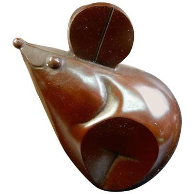 Playful Japanese Antique Solid Cast Bronze Big Ear Mouse Signed Mint and Boxed