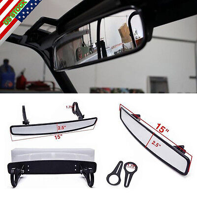 "15"" x 2.5"" Polaris RZR800 XP900 XP1000 UTV Wide Rear View Mirror + 1.75"" Clamp"