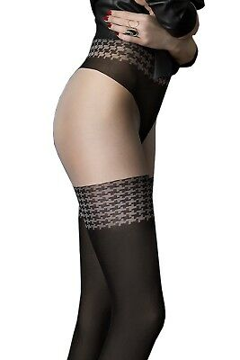Fiore - Collant femme sexy effet bas opaques noirs 40 den - City Girl  Jambissima 757f158fdf4