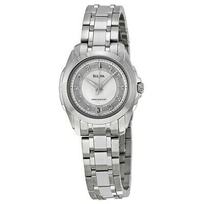 Bulova 96P115 Women's Silver Steel Band With White Analog Dial Watch NWT