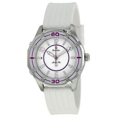 Bulova 96L144 Women's White Rubber Band With Mother Of Pearl Analog Dial Watch