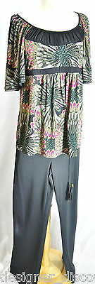 Motherhood pants 2 pc set Bisou Bisou Maternity top knit blouse set stretch M