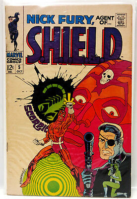 #5 NICK FURY AGENT of SHIELD 1960s Marvel Silver Age Comic Book- Fine (NF-05)