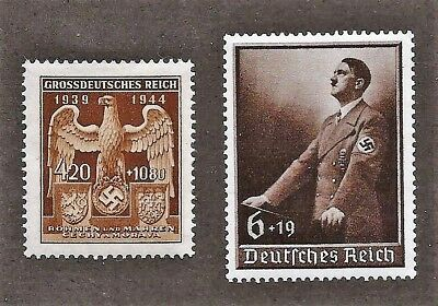 Original WW2 Nazi Germany 3rd Third Reich Hitler and B&M Eagle stamps MNH