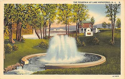 """Lake Hopatcong New Jersey~""""The Fountain""""~Dam? & Building in Background~1934 PC"""