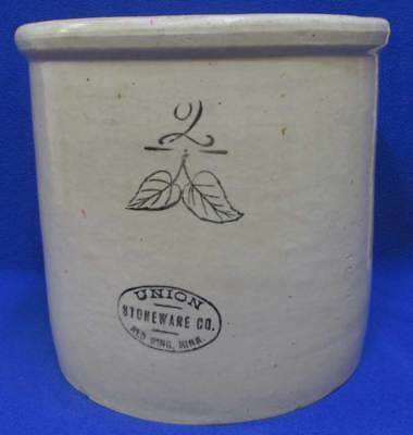 Union Stoneware Red Wing Pre 1906 Antique 2 Gallon Crock Birch Leaf Black Stamp