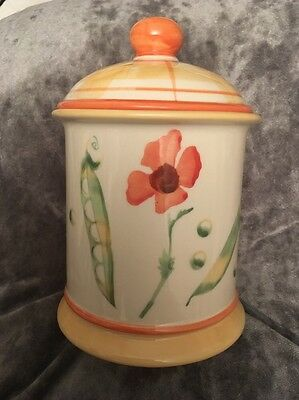 """Laura Ashley Summer Garden Storage Canister With Lid 4 3/4"""" High Plus Lid"""