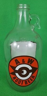 1/2 gallon A&W Root Beer Glass Jug Container - Good Condition