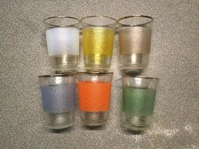 6 Vintage Vmc Mid Century Multi-color Textured Gold Rim Glass Drinking Glasses