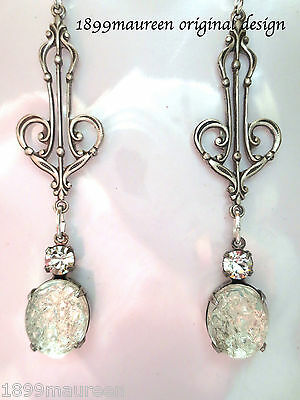 Art Nouveau Art Deco earrings bridal sugar glass clear crystal drop