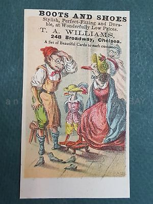 1880s antique T.A. WILLIAMS BOOTS SHOES chelsea ny ANTHROPOMORPHIC TRADE CARD