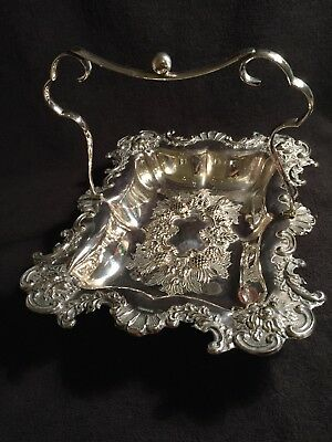 Antique Victorian Large Silver Plated Swing Handle Basket Regno 497583