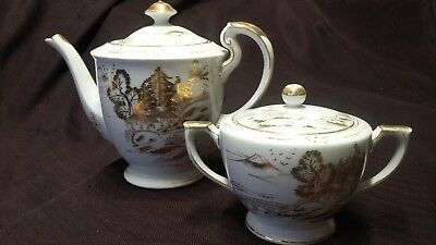 Vintage Fine Antique Kutani Rivers Edge Huts and Birds Teapot w/ Sugar Bowl Gold