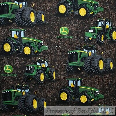 Boneful Fabric Fq Cotton Quilt Brown Farm Field Green John Deere Big Boy Tractor