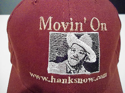 Hank Snow Movin' On Hat Cap Adjustable One Size Fits All Maroon Vg+ Cond Country
