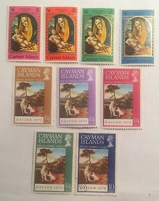 postage stamps cayman islands  lot of 9 Christmas 1969 Easter 1970     O