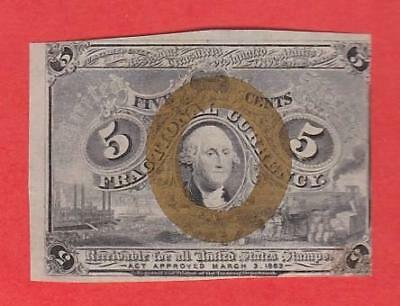 "1863-67 5¢ BEAUTIFUL UNC ""Washington Frame"" Fractional!"