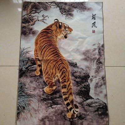 Collection Old Tibetan Nepal Silk Embroidered thangka fierce Tiger