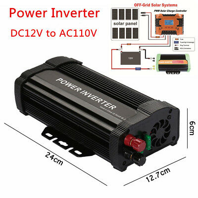 1000W Peak Car Solar Power Inverter DC 12V -AC 110V Modified Sine Wave Converter