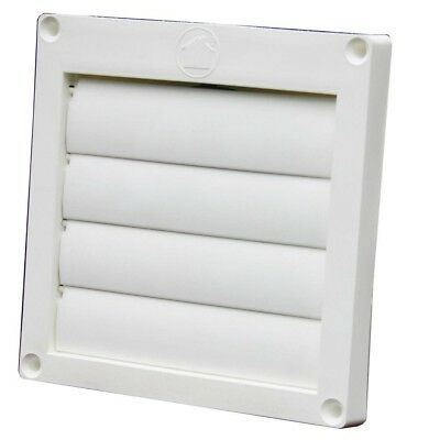 "FAN VENT COVER 4"" inch Louvered Plastic Flush Exhaust Hood Dryer Bathroom White"