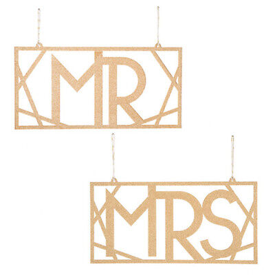 David Tutera™ Mr And Mrs Gold Glitter Chair Signs - 2 Pieces