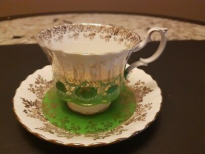 """Royal Albert  Footed Cup And Saucer """"regal Series"""" Heavy Gilt Filigree Green"""