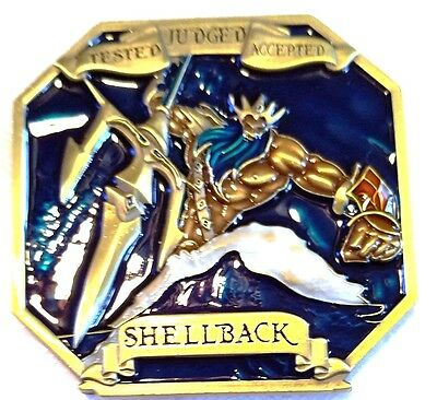 """Awesome 2.5"""" Navy Shellback Crossing the Line Neptune Mermaid Challenge Coin"""