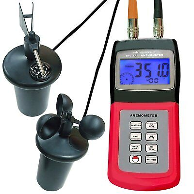Multi-function Thermo Anemometer w/ 3-Cup Type Sensor Wind Speed Air Flow Gauge