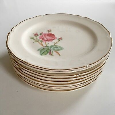 "NINE (9) EDWIN M. KNOWLES China Co. SEMI VITREOUS 7,5"" in Saucers w/ROSES 1940's"