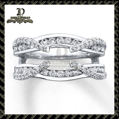 1.64Ct Diamond 14K White Gold Finish Solitaire Enhancer Wrap Wedding Band Ring