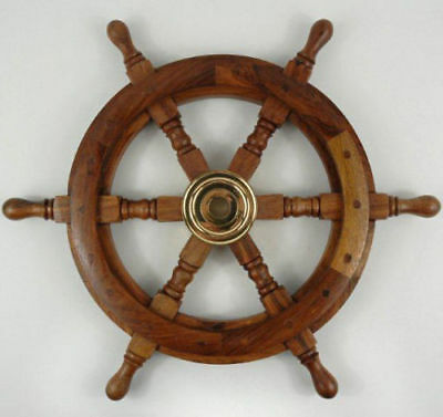 """Antique Nautical Wall Decor New 24"""" Boat Ship Large Wooden Steering Wheel Sw 04"""