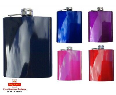 7oz Coloured Stainless Steel Pocket Hip Flask - Stag Hen Party Wedding Favour