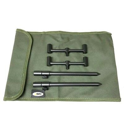 2 Rod Buzz Bar Set Black With Bag 2 20-30Cm Bank Sticks 2 13Cm Bars Carp Fishing