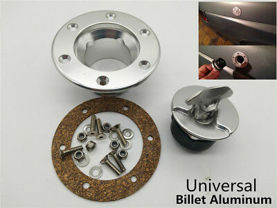 Billet Aluminum Aircraft Style Fuel Cell Gas Cap Flush Mount With 6Hole Anodized