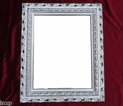Wall Mirror 43x36 Baroque Rectangular Repro Silver Picture Frame Arabesco 4
