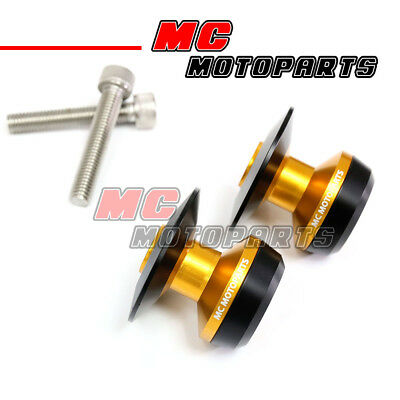 Gold Twall Racing M8 Swingarm Spools Sliders For Kawasaki ZX-10R Ninja 2011-2017