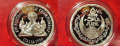 1990 Egypt Large Silver Proof 5 P-World Cup Soccer/Pyramids/Ancient Priestesses